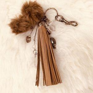Accessories - Taupe Mini Pom Pom Tassel & Beaded Key/Bag Charm